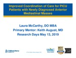 Improved Coordination of Care for PICU Patients with Newly Diagnosed Anterior Mediastinal Masses by Laura McCarthy