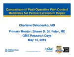 Comparison of Post-Operative Pain Control Modalities for Pectus Excavatum Repair by Charlene Dekonenko
