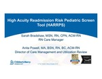 High Acuity Readmission Risk Pediatric Screen Tool (HARRPS)